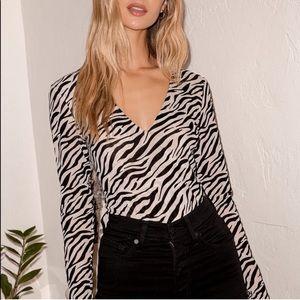 Lulus Let's Go Wild Zebra Print Bodysuit Beige